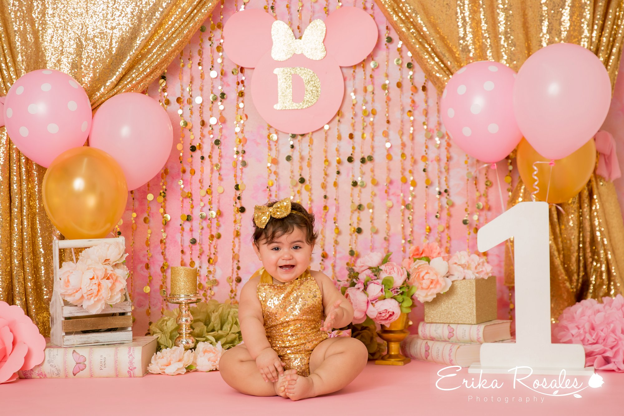 Minnie Mouse Gold And Pink Smash Cake Birthday Baby Girl Studio