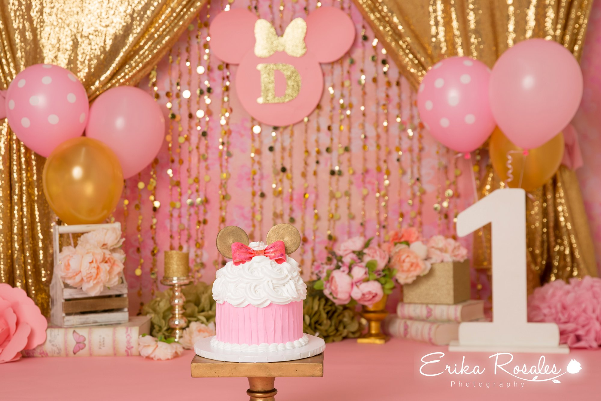 Minnie Mouse Gold And Pink Smash Cake Birthday Baby Girl Studio Photo Session