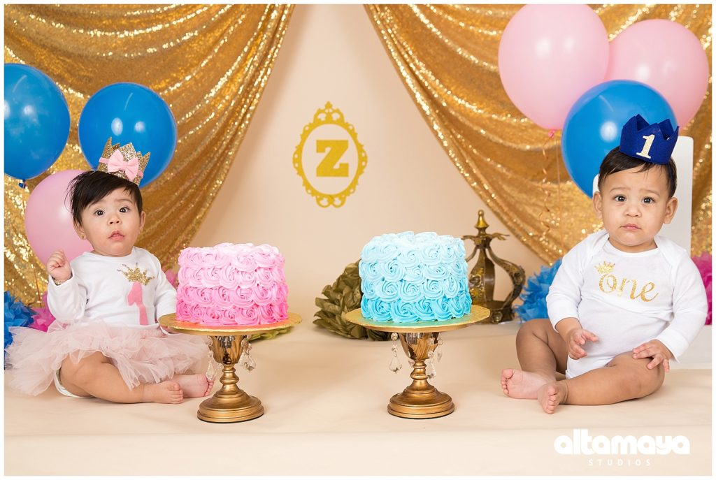 Arthur Ave The Bronx Studio Celebration First Birthday Baby Boy Girl Royal Blue Cake Smash Photo Session
