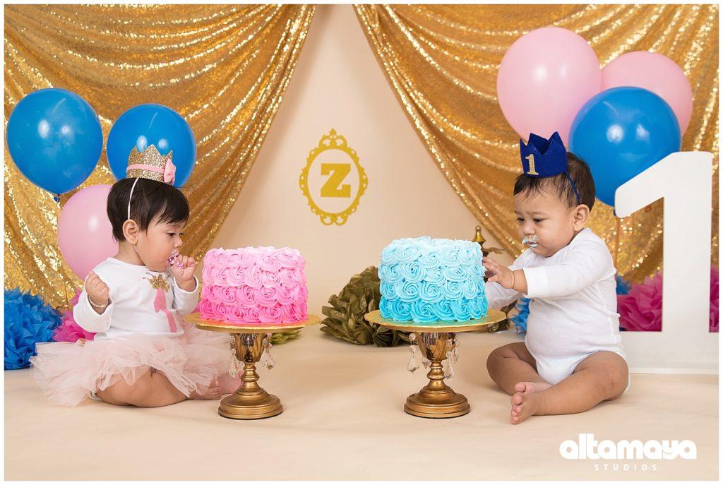 Arthur Ave The Bronx Studio Celebration First Birthday Baby Boy Girl Royal Blue Cake Smash Photo Session