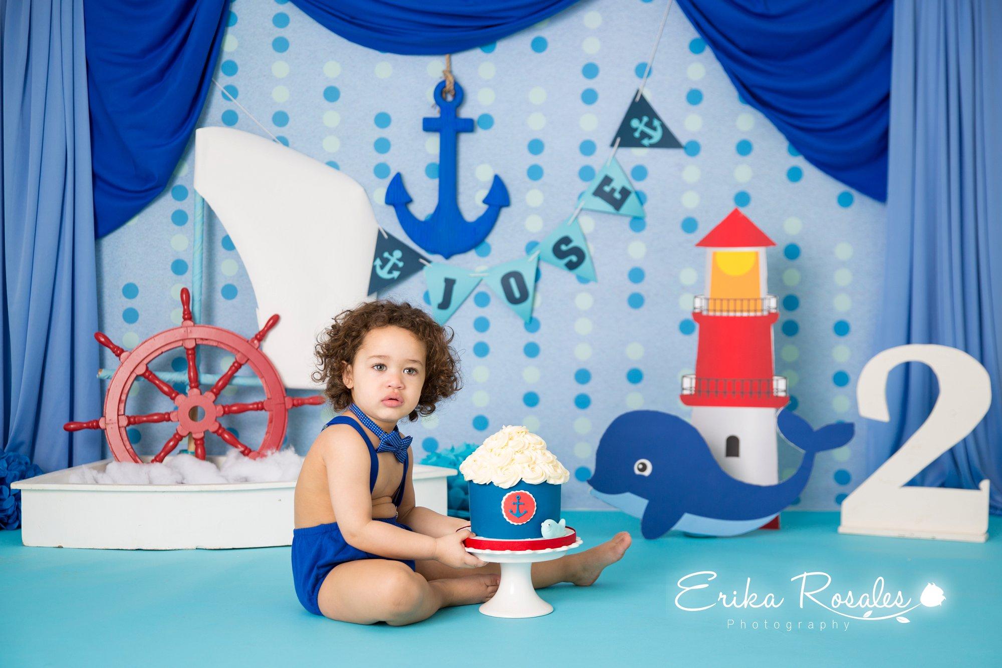 Nautical smash cake birthday baby boy studio photo session erika