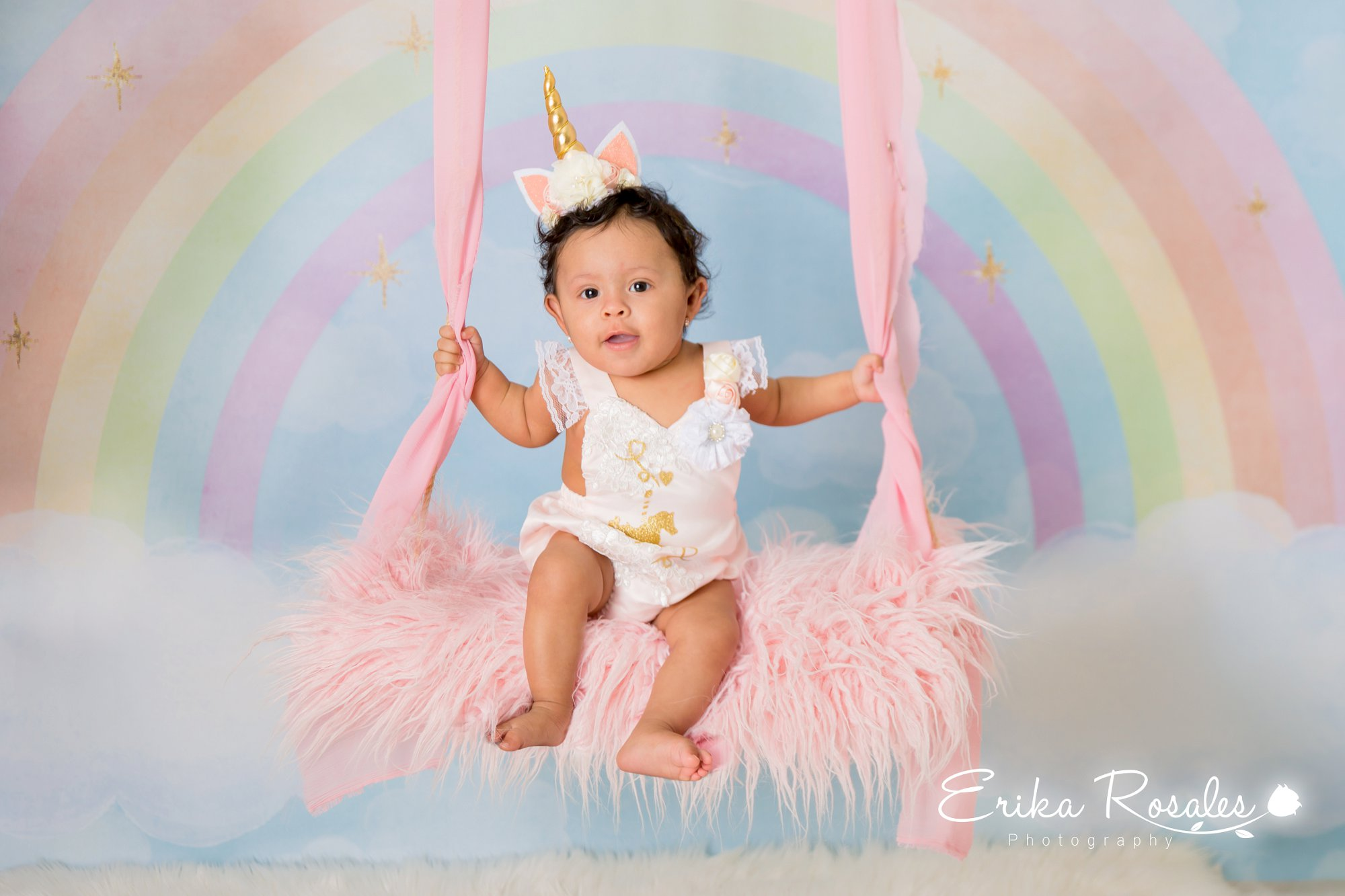 Baby girl 7 month old studio photo session unicorn photo session
