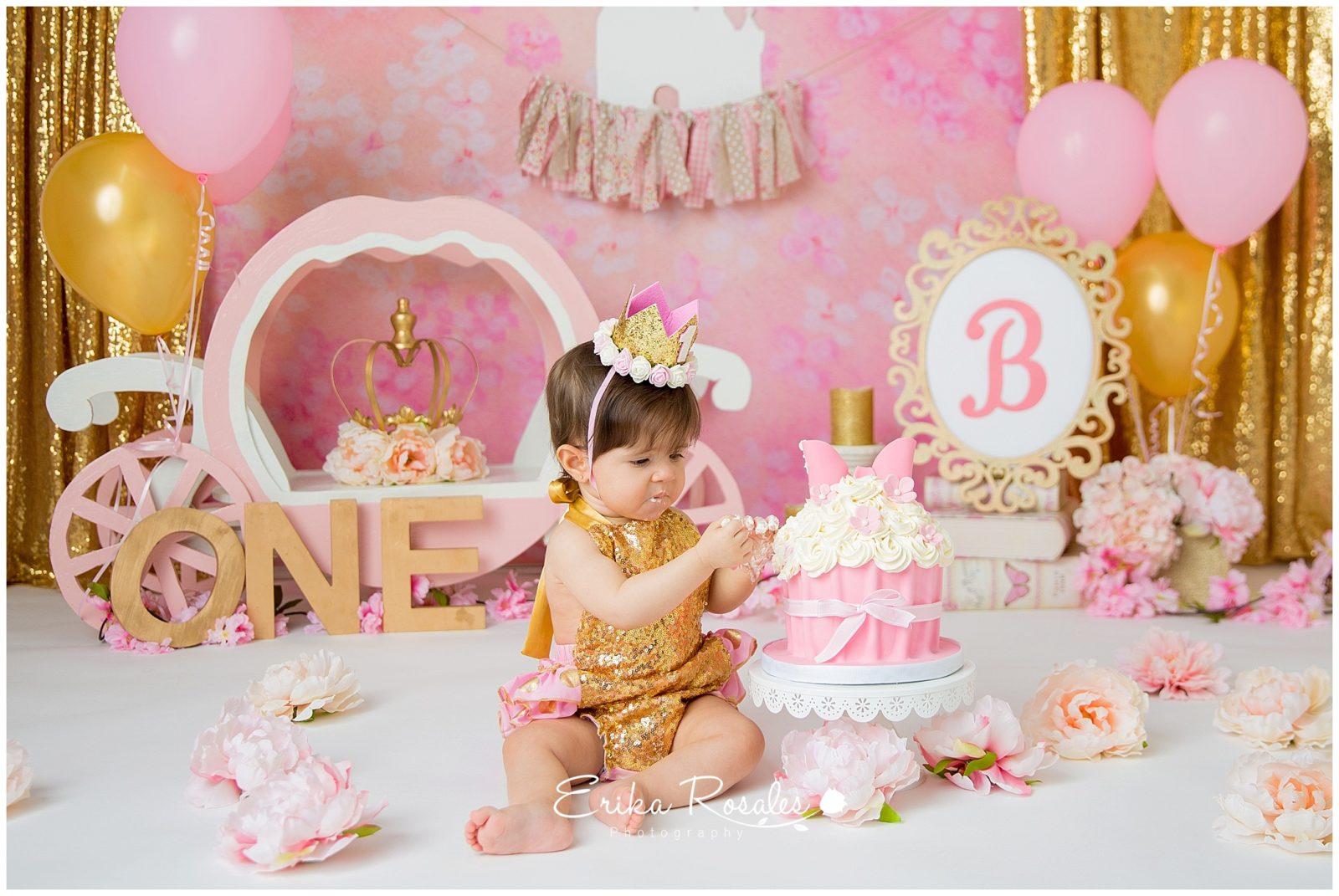 Cake Smash Princess Photo Session - The Bronx Studio | Erika
