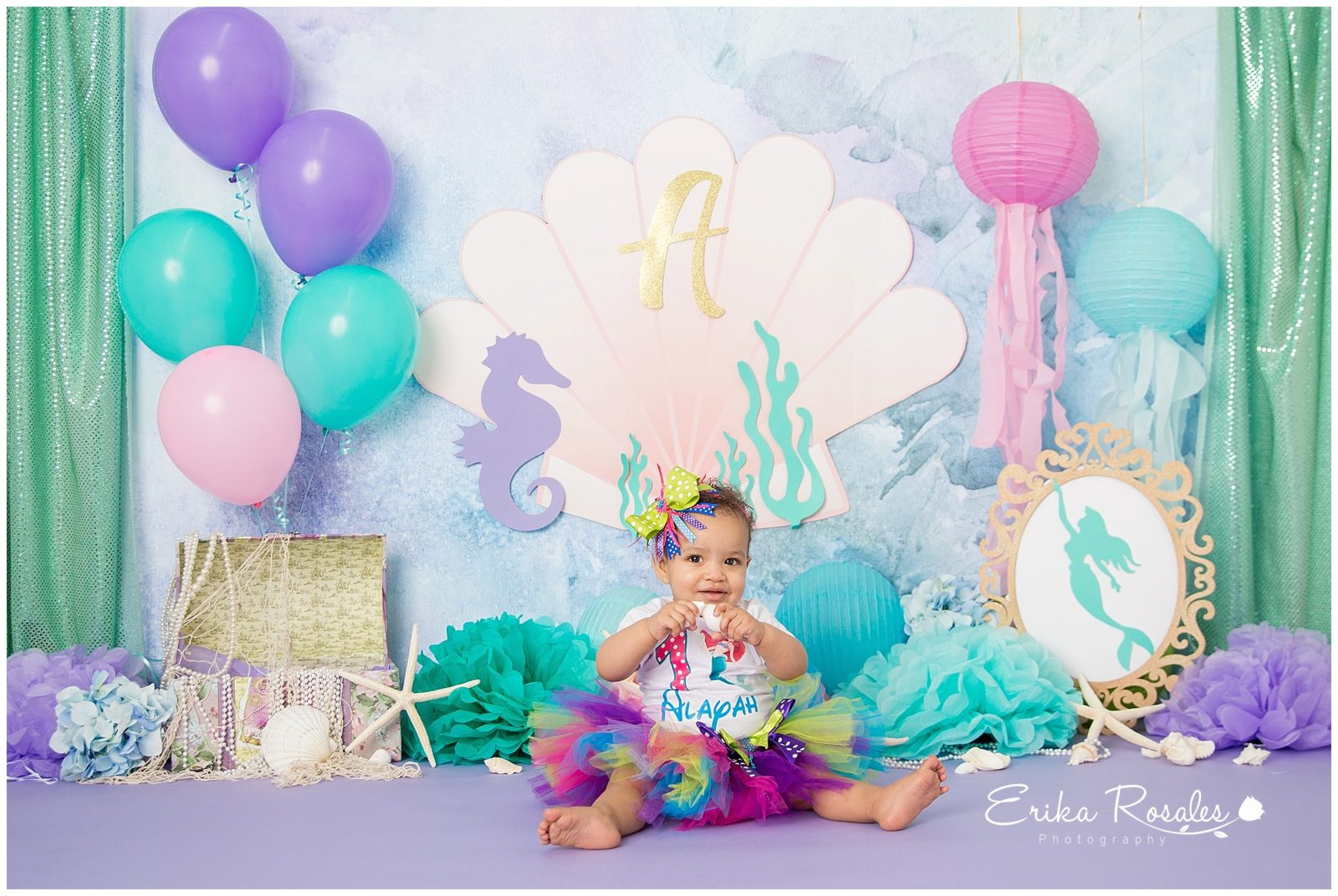 Cake smash little mermaid theme baby photographer the bronx studio