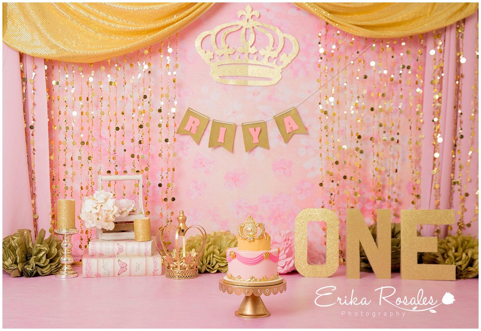 Smash Cake Princess Theme Pink And Gold Baby