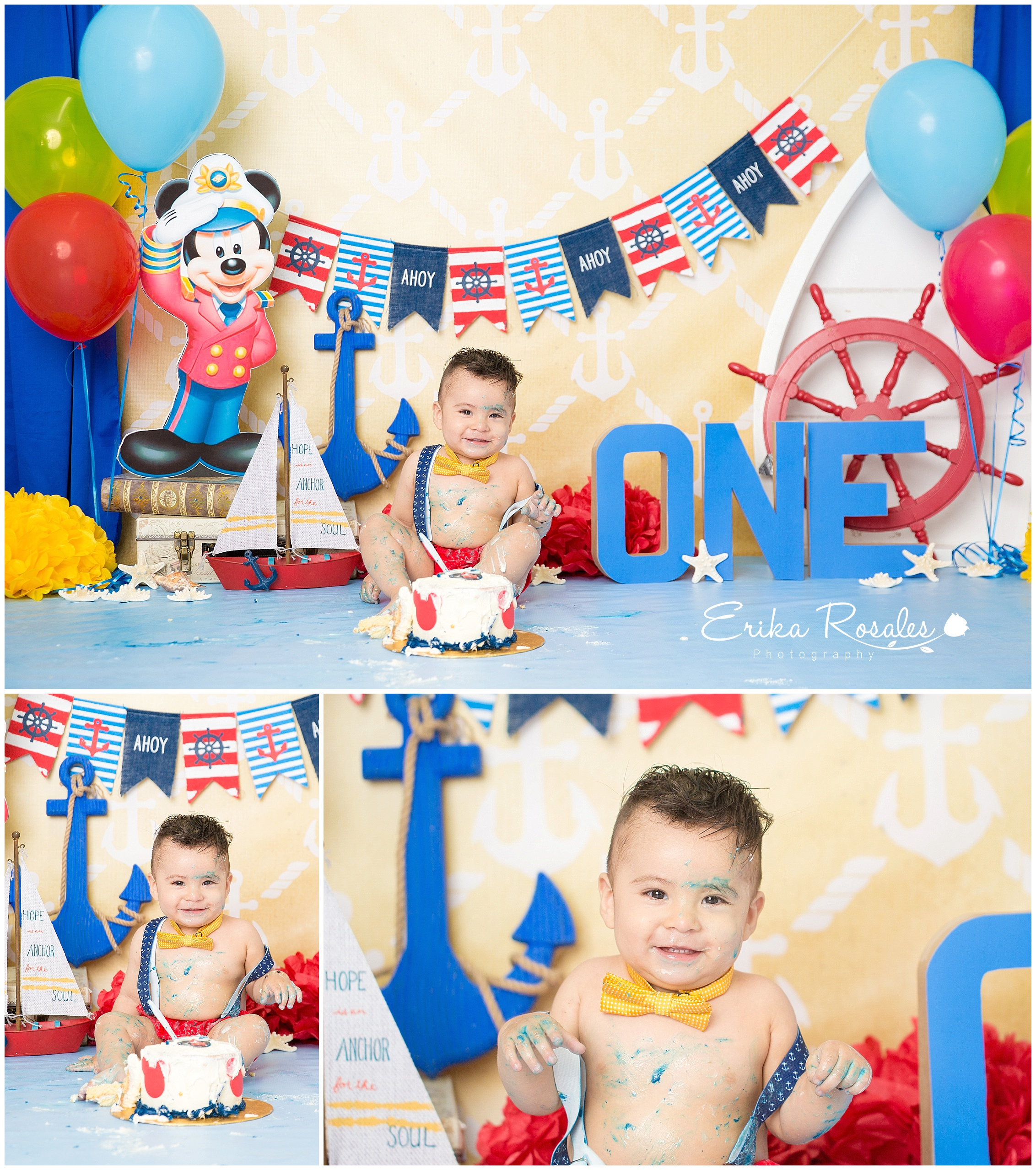 Cake Smash Nautical Mickey Mouse Theme- Baby Photographer