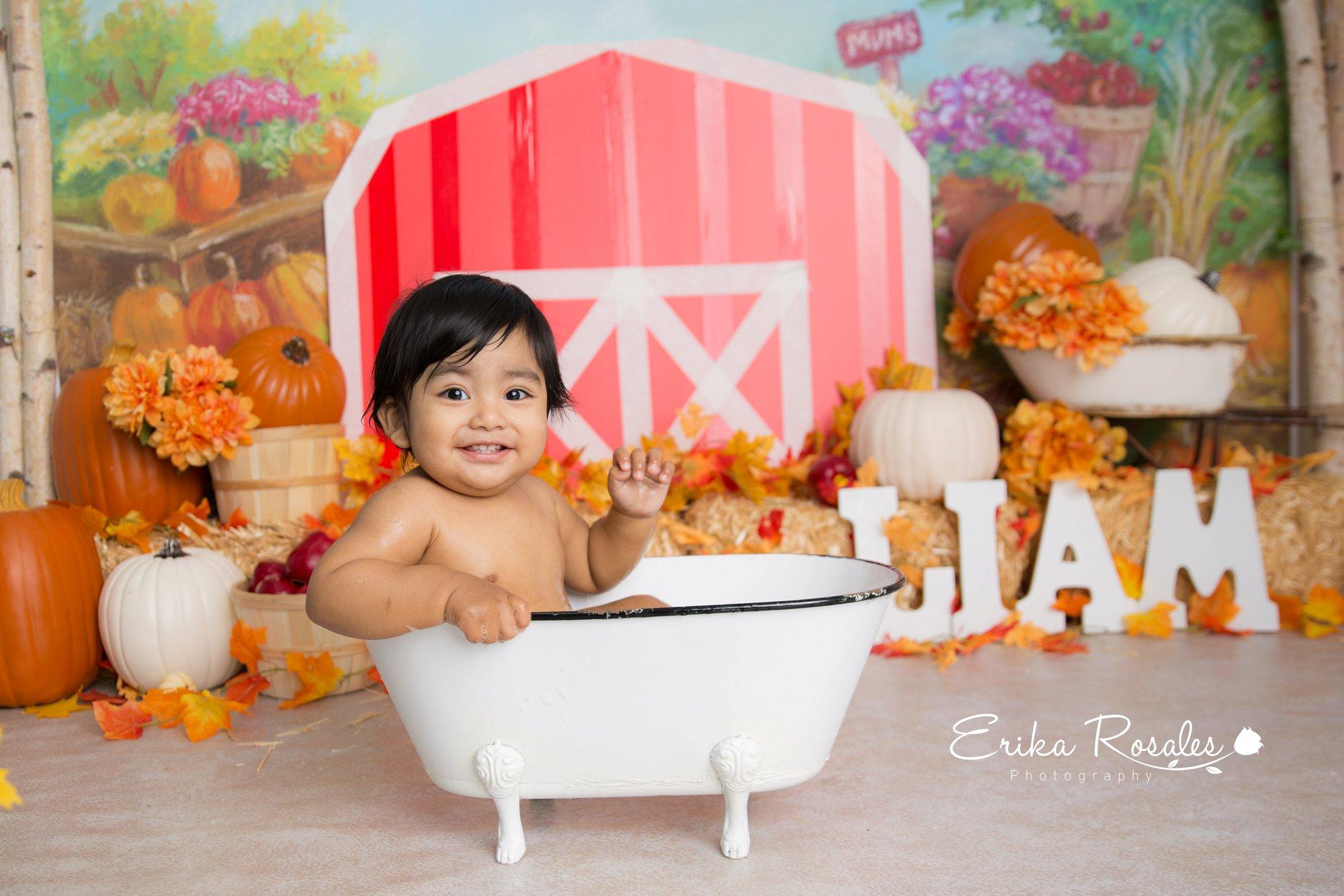 Fall cake smash birthday baby boy studio photo session erika
