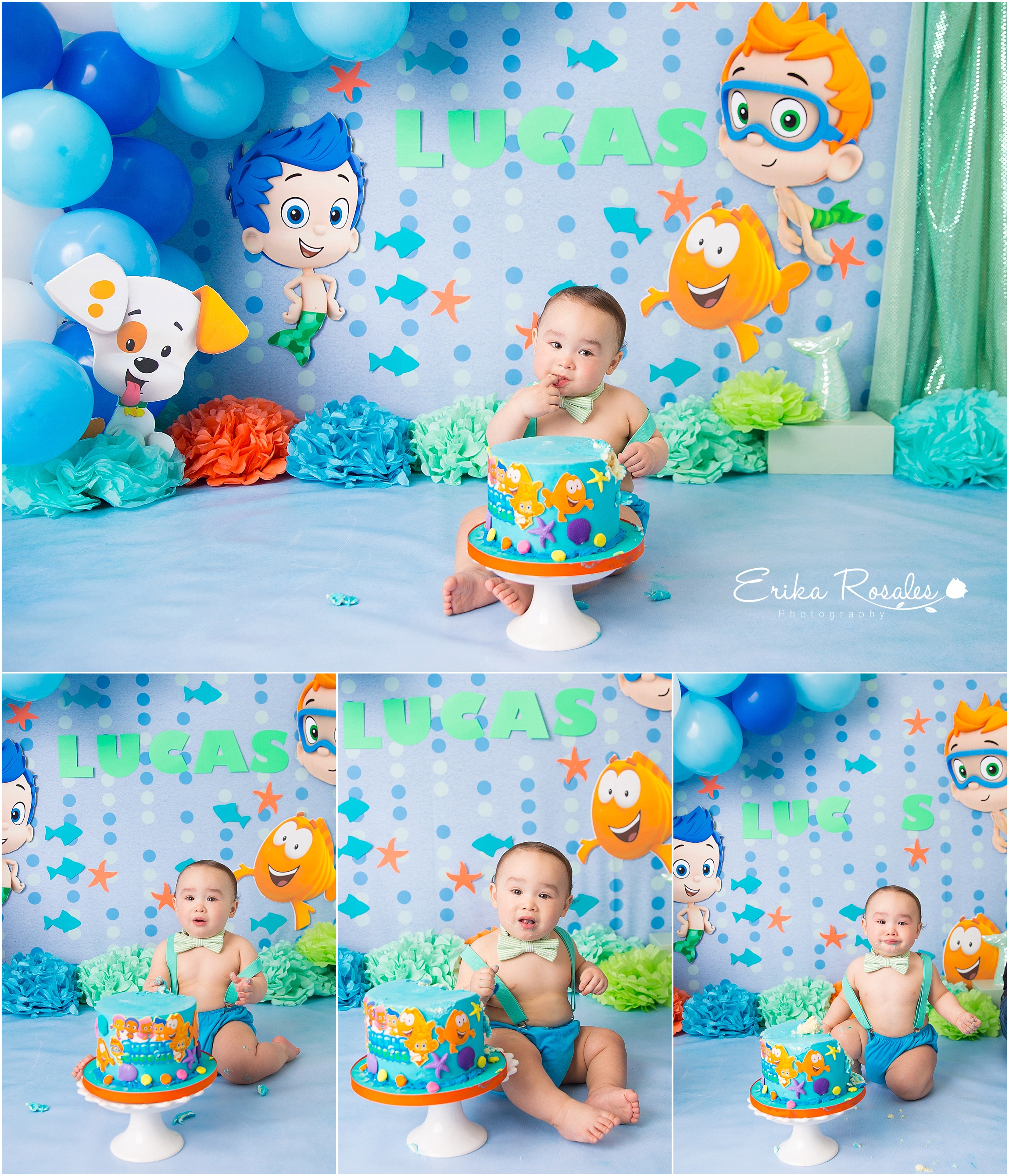 Wondrous Bubble Guppies Smash Cake Photo Session Archives Erika Rosales Funny Birthday Cards Online Alyptdamsfinfo