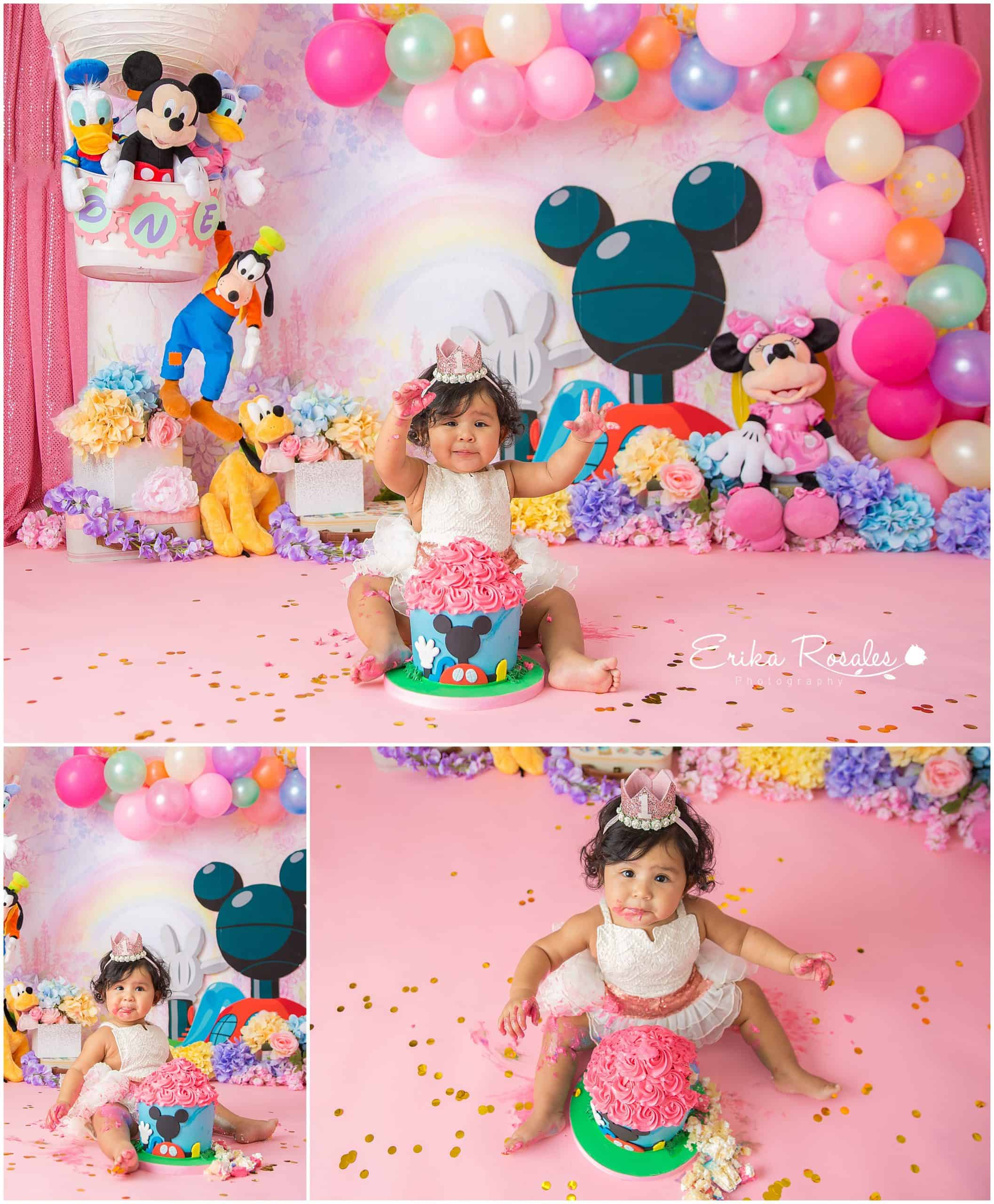 Incredible Cake Smash Mickey Mouse Club House Archives Erika Rosales New Funny Birthday Cards Online Overcheapnameinfo